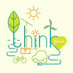 Think green typographic design. Renewable and green energy Concept. Vector illustration.