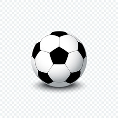 Soccer ball. Realistic football ball or soccer ball with shadow on transparent background. Football ball icon.