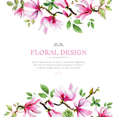 Pastel floral background in watercolor style
