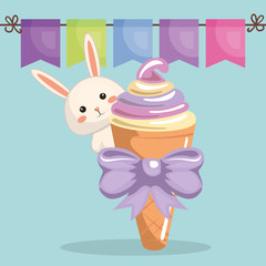 cute rabbit with ice-cream kawaii birthday card vector illustration design