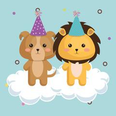 cute lion with dog kawaii birthday card vector illustration design