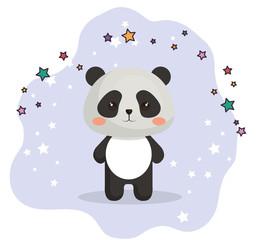 cute bear panda kawaii birthday card vector illustration design
