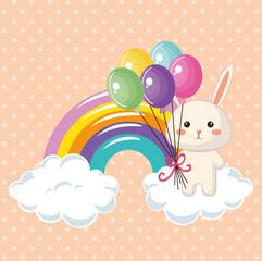 cute rabbit with rainbow kawaii birthday card vector illustration design