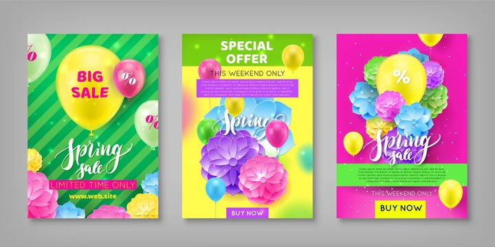 Banner, spring sale discount, colorful background. invitational flyer for seasonal sell-out lasting week. Vector illustration of auction of incredible generosity