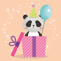 cute bear panda with gift kawaii birthday card vector illustration design