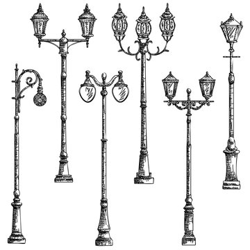 Set of vector illustrations drawing of lamppost.