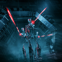 Robot patrol attacks / 3D illustration of science fiction scene with three military robots advancing through spaceship corridor firing laser rifles
