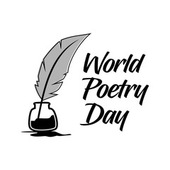 world poetry day. vector illustration. minimalist. logo. sticker. greeting card
