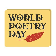 world poetry day. vector illustration. minimalist. logo. sticker. greeting card