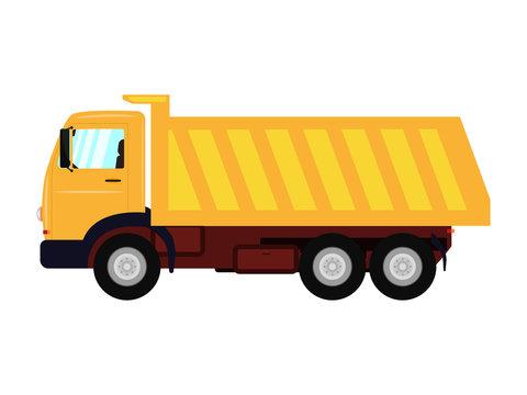 Vector illustration of a cartoon yellow truck