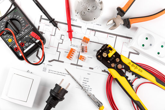 electrical tools and equipment on wiring plan. top view