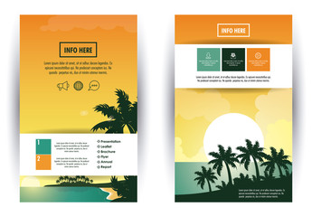 Beach and travel brochure infographic vector illustration graphic design