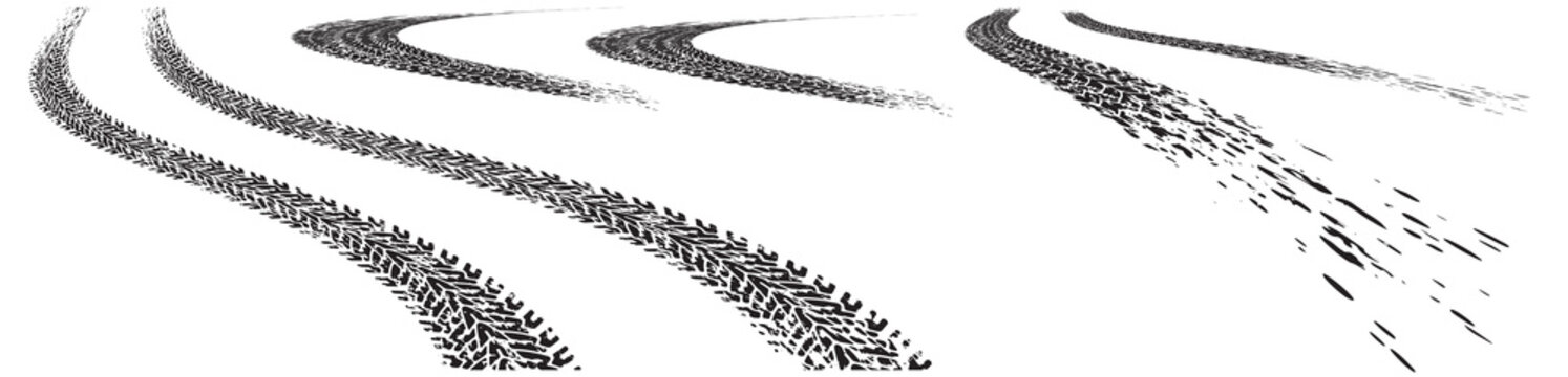 Set of vector trails, traces of the tyre in grunge style on a white background