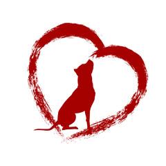 Dog in brush heart vector illustration American Pit Bull Terrier silhouette