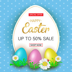 Cute Easter greeting sale banner with flowers, Easter eggs on blue background. Vector illustration