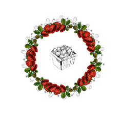 Hand drawn colored sketch with wreath and basket of strawberries isolated on white background.. vector illustration