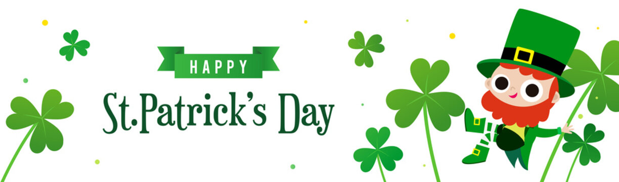 Happy St. Patrick's Day Banner vector illustration. Cute Leprechaun with Shamrock on white background.