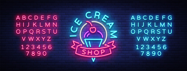Ice cream shop neon sign. Ice cream shop logo in neon style, symbol, light banner, bright night advertising ice cream, billboard. Design template. Vector illustration. Editing text neon sign Wall mural