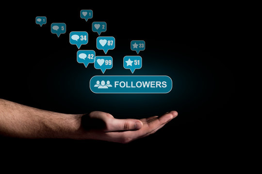 Hand show a icon of followers