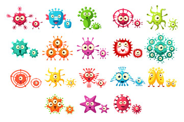 Colorful bacteria cartoon characters set, cute microbes with funny faces vector Illustrations on a white background