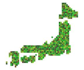 日本地図カラフルランダムドット絵イラスト緑の大地