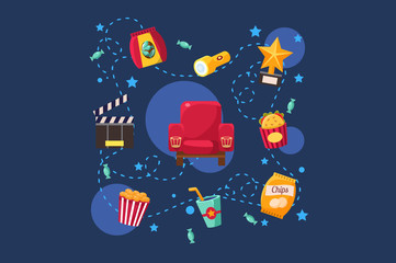 Cinema or movie set, scene, film industry, cinematography concept vector Illustration on a blue background