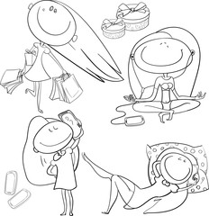 The picture shows a little girl, and her various life situations, desires and dreams