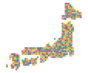 日本地図カラフルランダムドット絵イラスト