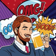 Businessman with bubbles vector illustration graphic design