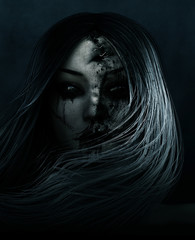 Ghost woman with stitch wound on her face,3d rendering concept background