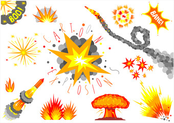 A set of cartoon bomb explosions and fireworks. Caricature. Icons and templates in vector graphic
