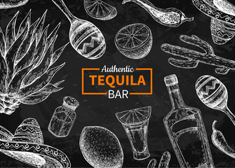 Tequila bar vector blackboard label. Mexican alcohol drink drawi