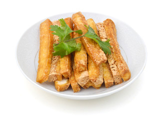 Fried Tofu in white plate on white