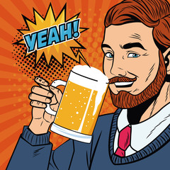 Businessman with beer vector illustration graphic design