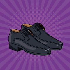 Elegant shoes for male pop art cartoon vector illustration graphic design