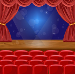 Microphone on a stage Vector illustration. theater or concert scenes