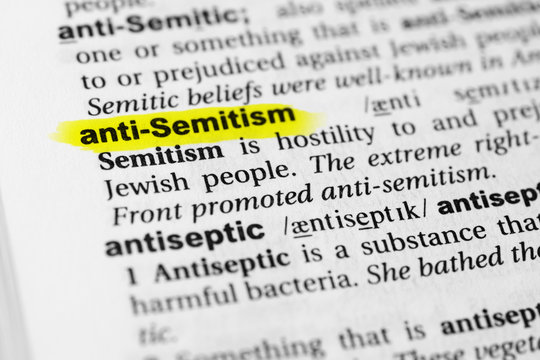 "Highlighted English word ""anti semitism"" and its definition in the dictionary"