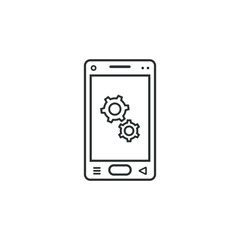 linear mobile phone icon with gear sign