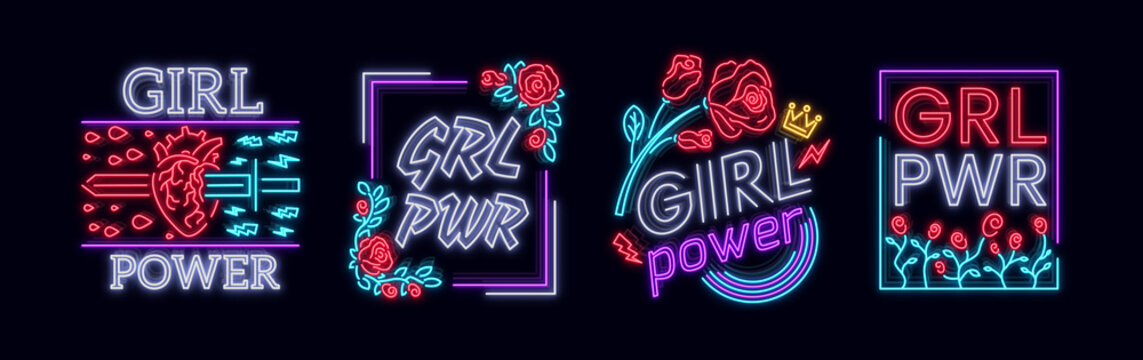 Rock print and slogan vector. Collection Girl T-shirt prints or other purposes. A symbol of feminism for printing in a neon style. Neon sign Retro style. Women's fashion slogan