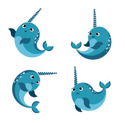 Cartoon happy  smiling narwhal set.Funny kawaii character isolated set. flat vector style illustration