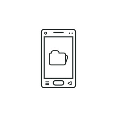 linear mobile phone icon with folder sign