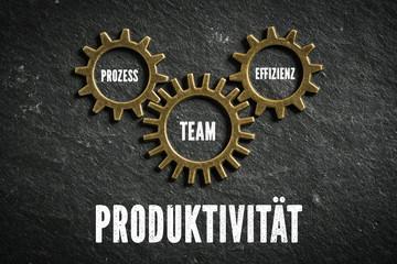 Produktivität aus Kombination von Prozess, Effizienz und Team