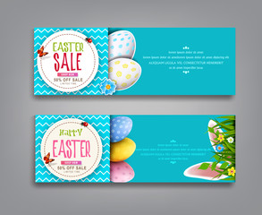 Vector set illustration. Easter vintage  sale banner, advertising round card with eggs and with green grass, rabbit ears, against the background of  blue sky.