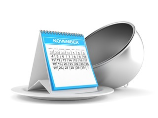 Silver catering dome with calendar