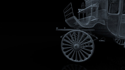 old car model body structure, wire model with Reflect 3d rendering