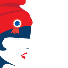 Vector illustration for French National Day or The Fourteenth of July, also called Bastille Day: The symbol of France Marianne and a space for copy.