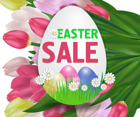 Easter sale with tulips poster in the shape of an egg with paschal eggs. Vector