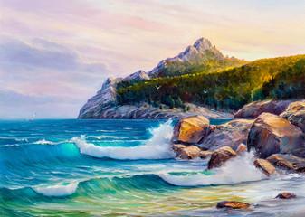 Morning on sea, wave, illustration, oil painting.