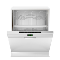 Vector 3d realistic empty dishwasher machine with digital display, with open door, front view isolated on background. Modern household appliance for washing dishes, with control panel, timer, buttons
