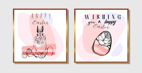 Hand drawn vector abstract creative Easter greeting cards design template with Easter eggs and Easter bunny isolated on white background.Design for flayer,invitation,journaling,decoration
